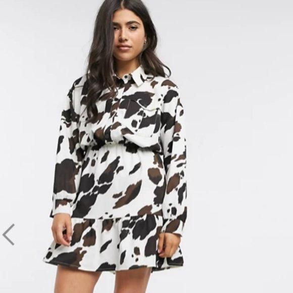 ASOS Cow Print mini shirt dress sz10